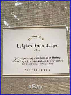 Pottery Barn Set 2 Belgian Linen Curtains Libeco Linen Blackout Lining 84 NEW
