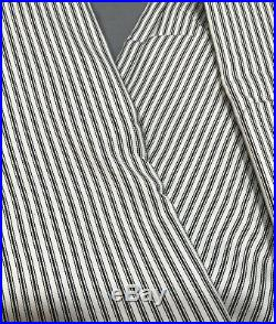 Pottery Barn Set/2 Black Emily & Meritt Ticking Stripe 96 Curtains Drapes