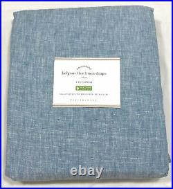Pottery Barn Set/2 Blue Chambray Classic Belgian Flax Linen 84 Curtains Drapes