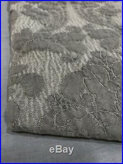 Pottery Barn Set/2 Charcoal Dephina Jacquard 84 Curtains Panels Drapes