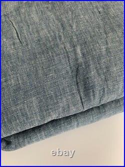 Pottery Barn Set 2 Classic Belgian Flax Linen Curtain Panel 50x96 Chambray New