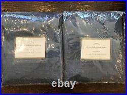 Pottery Barn Set 2 Cotton Basketweave Drapes Curtains Panels Pair Blue 50x84 Ink