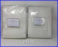 Pottery Barn Set 2 Cotton Basketweave Drapes Ivory 108 Curtain SET OF 2- NEW