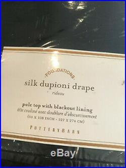 Pottery Barn Set 2 Dupioni Silk Blackout Curtains 50 x 108 Indigo Blue NEW