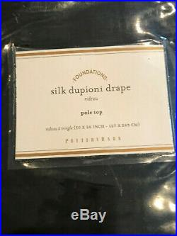 Pottery Barn Set 2 Dupioni Silk Blackout Curtains 50 x 96 Indigo Blue NEW