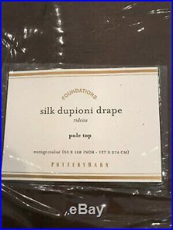 Pottery Barn Set 2 Dupioni Silk Pole Pocket Curtains 50 x 108 Espresso NEW