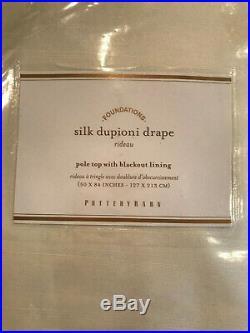 Pottery Barn Set 2 Dupioni Silk Pole Pocket Curtains Blackout 50 x 84 Ivory