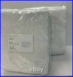 Pottery Barn Set 2 Emery Linen/Cotton Blackout Lining Curtains 50x 108 White