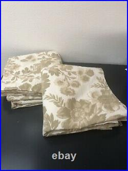 Pottery Barn Set 2 Floral Drape 50x108 Curtains Linen Blend Pole Pocket Pair