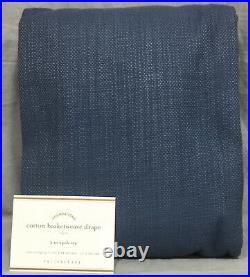Pottery Barn Set/2 Ink Blue Cotton Basketweave 84 Drapes Curtains Panels