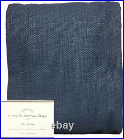 Pottery Barn Set/2 Ink Blue Cotton Basketweave 96 Drapes Curtains Panels