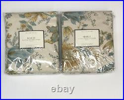 Pottery Barn Set 2 Marie Drapes Neutral 50x96L Curtain Floral Pair Rare