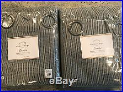 Pottery Barn Set 2 Sunbrella Solid Indoor/Outdoor Grommet Drape 124 Volt Silver