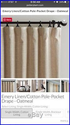 Pottery Barn Set 3 Belgian Flax Linen Sheer Drape Pole Top 54 x 108 Unlined