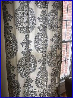 Pottery Barn Set 4 Lucianna Drapes Gray 108L Pole Pocket Curtain Pair Used