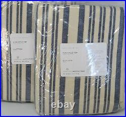 Pottery Barn Set of 2 Antique Stripe Print Curtains Drapes 50x84 Blue Farmhouse