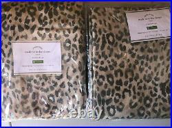 Pottery Barn Set of 2 Cheetah Print Linen/Cotton Curtains Neutral Multi 96 NEW