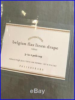 Pottery Barn Set of 2 Classic Belgian Flax Linen Curtain Flagstone 50 x 108