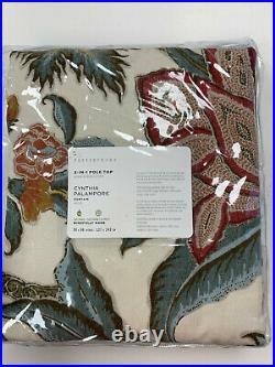 Pottery Barn Set of 2 Cynthia Palampore Linen/Cotton Curtains 50 x 96 Ivory