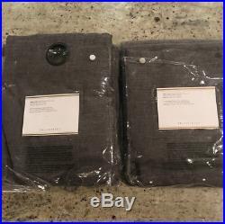 Pottery Barn Set of 2 Emery Linen Cotton Blackout Grommet Drapes 84 Charcoal