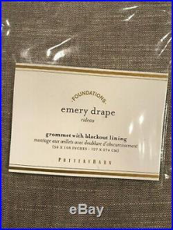 Pottery Barn Set of 2 Emery Linen/Cotton Grommet Blackout Curtains 108 Gray NEW