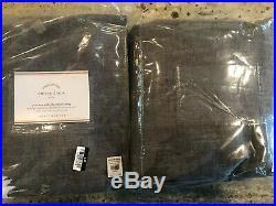 Pottery Barn Set of 2 Emery Linen/Cotton Pole-Pocket Blackout Curtains Charcoal