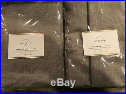 Pottery Barn Set of 2 Emery Linen/Cotton Poletop Blackout Curtains 108 Gray NEW