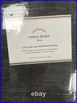 Pottery Barn Set of 2 Emery Linen/Cotton Rod Pocket Blackout Curtains 50 x 108