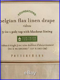 Pottery Barn Set of 2 Pottery Barn Belgian Flax Linen Drapes White 96 Blackout