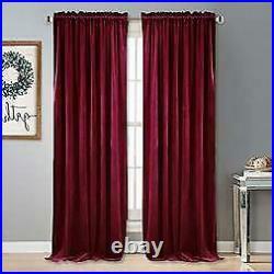 Pottery Barn Set of 2 Velvet Twill Rod Pocket Curtains 50 x 96 Red (Rideau)