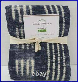 Pottery Barn Shibori Dot Cotton Lined Drape Panel Curtain 50x 108 Blue #9443