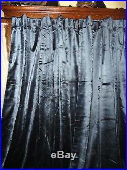 Pottery Barn Shiny Navy Velvet (pair) Lined Drapery Panels 50 X 84