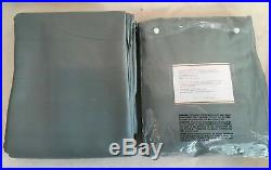 Pottery Barn Silk Dupioni Blackout Pole Drapery Panels (2) 50X96 Porcelain Blue