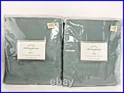 Pottery Barn Silk Dupioni Blue Dawn Drape Pole Top Curtain 2 Panels 104x84 NWT