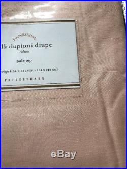Pottery Barn Silk Dupioni Drape Curtain Panel 104 x84 Pedal Pink NIP