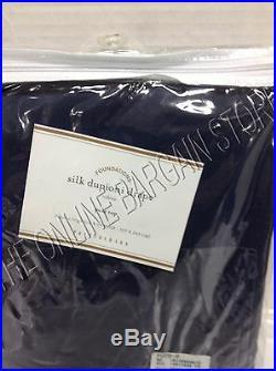 Pottery Barn Silk Dupioni Drapes Curtains Panels Cotton Lining 50x96 Indigo Blue