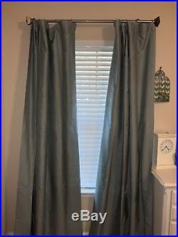 Pottery Barn Silk Dupioni Lined Blackout Drapes Blue Dawn 50 X 84. 4 Panels