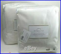 Pottery Barn Silk Dupioni Pole Curtain Drapes Blackout 104 x 96 White S/ 2 #2038