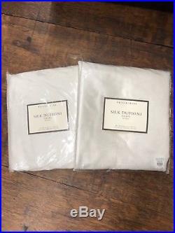 Pottery Barn Silk Dupioni Pole Pocket Drapes x 2 (50x96) Ivory