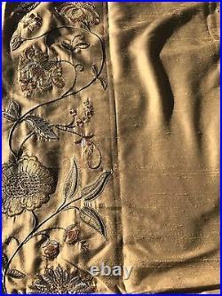 Pottery Barn Silk Multi Embroidered Drape Curtain Panel 50x124 Wheat New