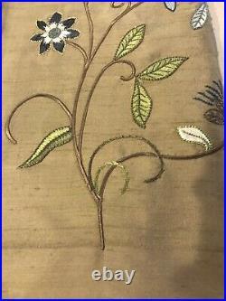 Pottery Barn Silk Multi Embroidered Drape Curtain Panel 50x96 Clay New