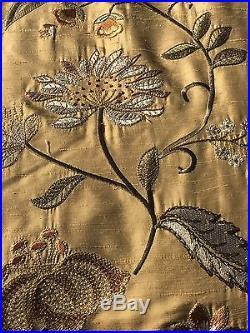 Pottery Barn Silk Multi Embroidered Drape Curtain Panel 50x96 Wheat New