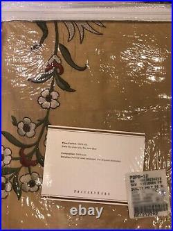 Pottery Barn Silk Olivia Margaret Multi Embroidered Drape Curtain 84 L Wheat New
