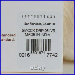 Pottery Barn Smocked Sheer Drape Panel Curtain 42x 96 Ivory S/2 #7058