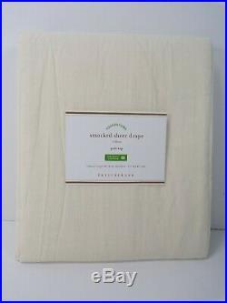 Pottery Barn Smocked Sheer Drapes Curtains Panel Drape Ivory 42x 96 #6410