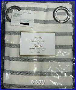 Pottery Barn Sunbrella Awning Stripe Outdoor Grommet Curtain, 50W x 96L, Gray