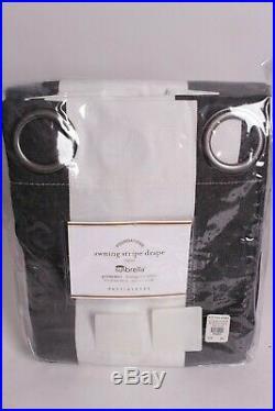Pottery Barn Sunbrella awning stripe grommet outdoor drape curtain 50x84 black
