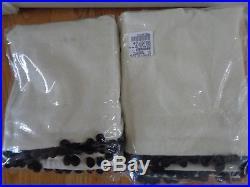 Pottery Barn TEEN EMLY & MERITT NATURAL LINEN POM POM BLACKOUT DRAPES-2-84'-NEW