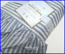 Pottery Barn Teen Blueish Gray Ruffle Stripe Window Drape Panel 52X96 Set of 2