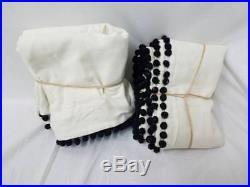 Pottery Barn Teen Emily & Meritt Natural Linen Pom Pom Drapes 44 x 84 set 2